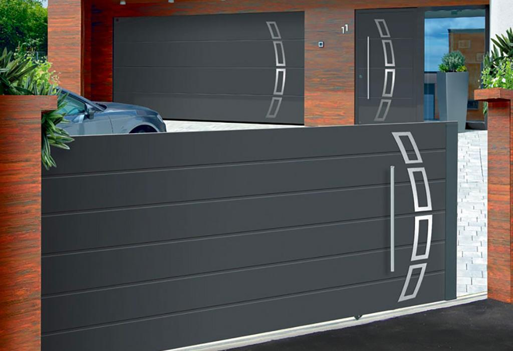 portail garage avec porte. Black Bedroom Furniture Sets. Home Design Ideas